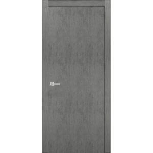 Solid French Door | Planum 0010 Concrete | Single Regular Panel Frame Trims Handle | Bathroom Bedroom Sturdy Doors