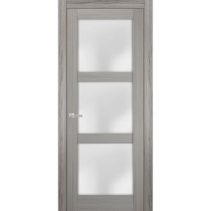 Solid French Door Frosted Glass | Lucia 2552 Grey Ash | Single Regular Panel Frame Trims Handle | Bathroom Bedroom Sturdy Doors