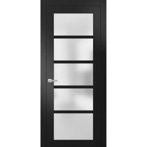 Solid French Door Frosted Glass | Quadro 4002 Matte Black | Single Regular Panel Frame Trims Handle | Bathroom Bedroom Sturdy Doors