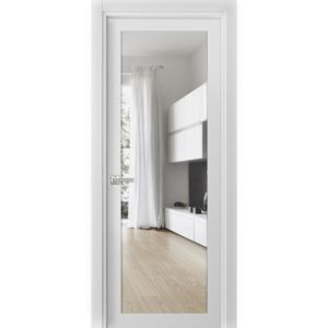 Solid French Door Clear Glass | Lucia 2166 White Silk | Single Regular Panel Frame Trims Handle | Bathroom Bedroom Sturdy Doors