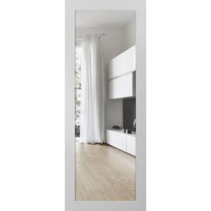 Slab Barn Door Panel Clear Glass | Lucia 2166 White Silk | Sturdy Finished Doors | Pocket Closet Sliding