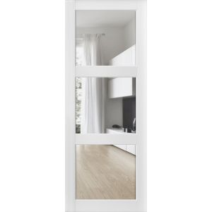 Slab Barn Door Panel Clear Glass 3 Lites | Lucia 2555 Matte White | Sturdy Finished Doors | Pocket Closet Sliding