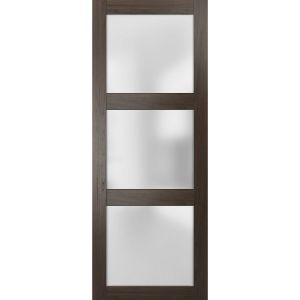 Slab Barn Door Panel Frosted Glass | Lucia 2552 Chocolate Ash | Sturdy Finished Doors | Pocket Closet Sliding