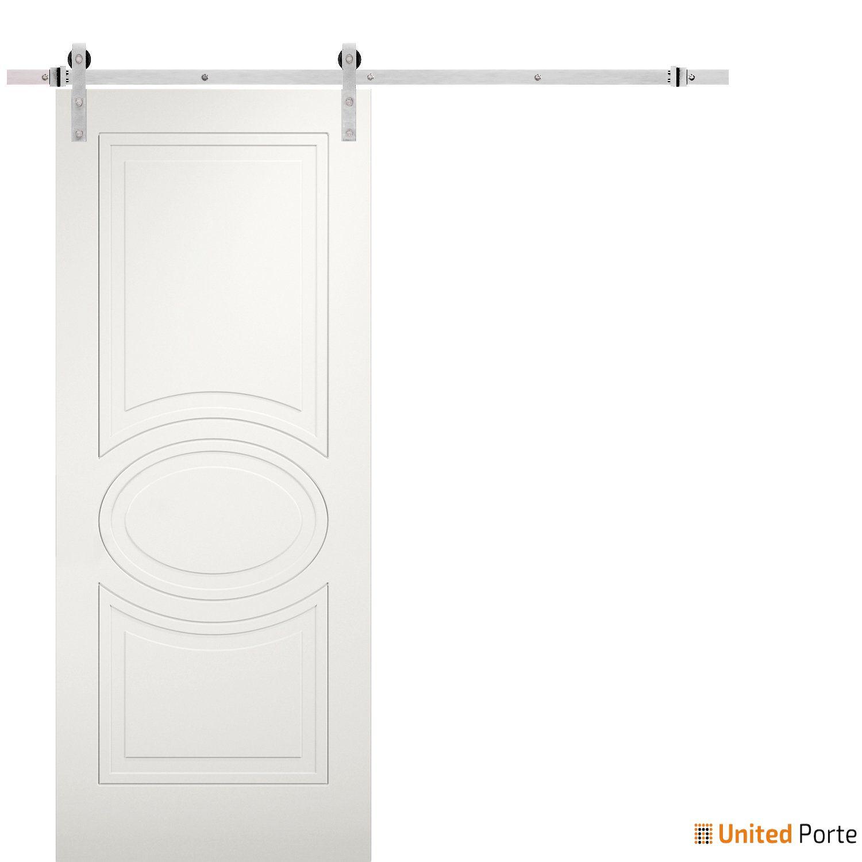 Mela 7001 Matte White Modern Barn Door with Stainless Hardware   Solid Panel Interior Barn Doors