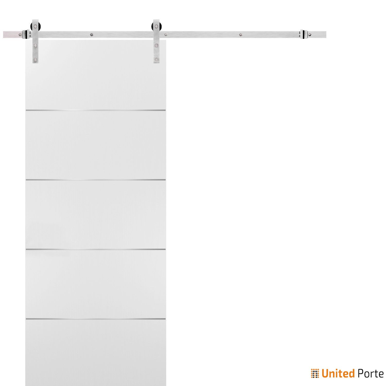 Planum 0020 White Sliding Barn Door with Stainless Hardware   Modern Solid Panel Interior Barn Doors