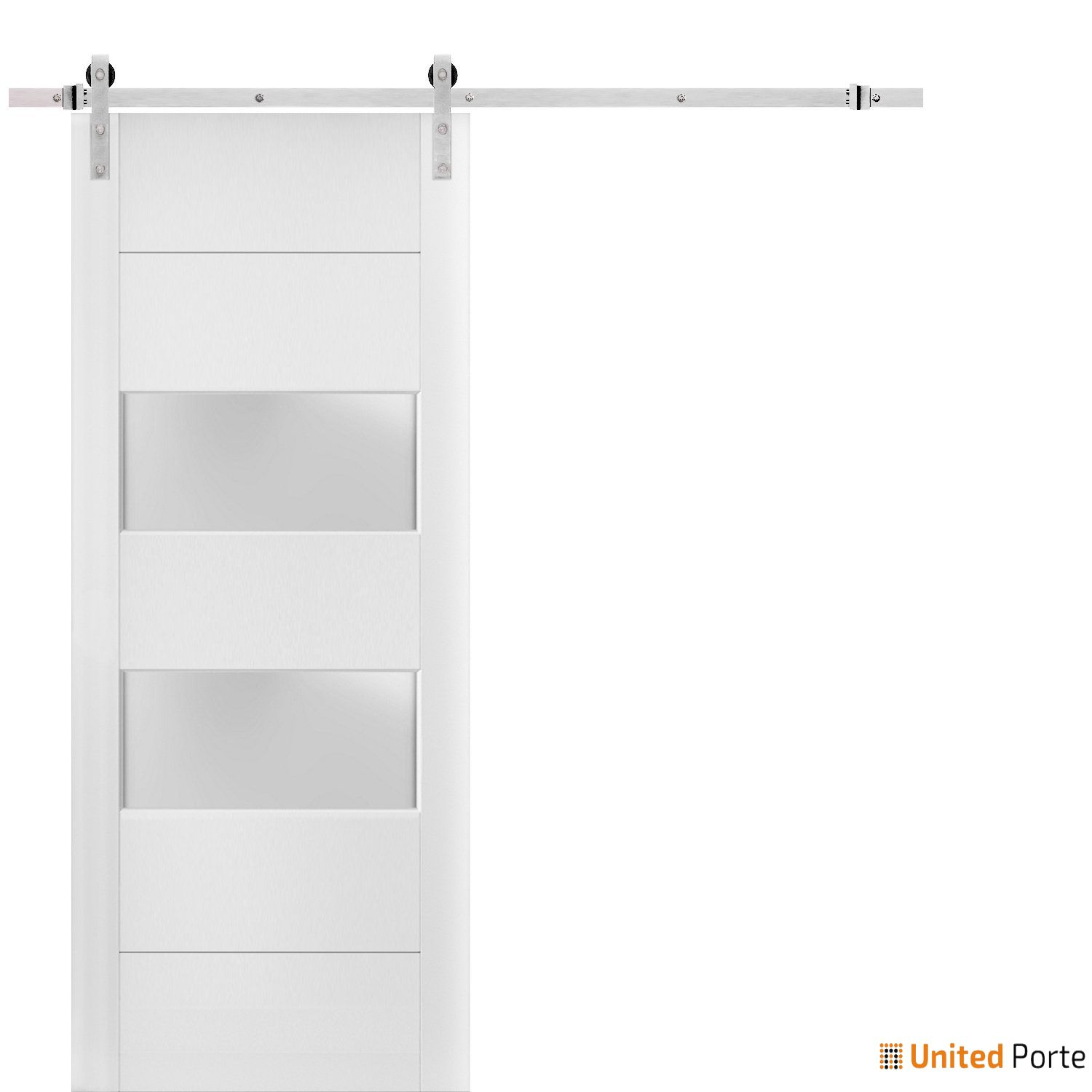 Lucia 4010 White Silk Sturdy Barn Door Frosted Glass 2 lites with Stainless Hardware | Solid Panel Interior Barn Doors