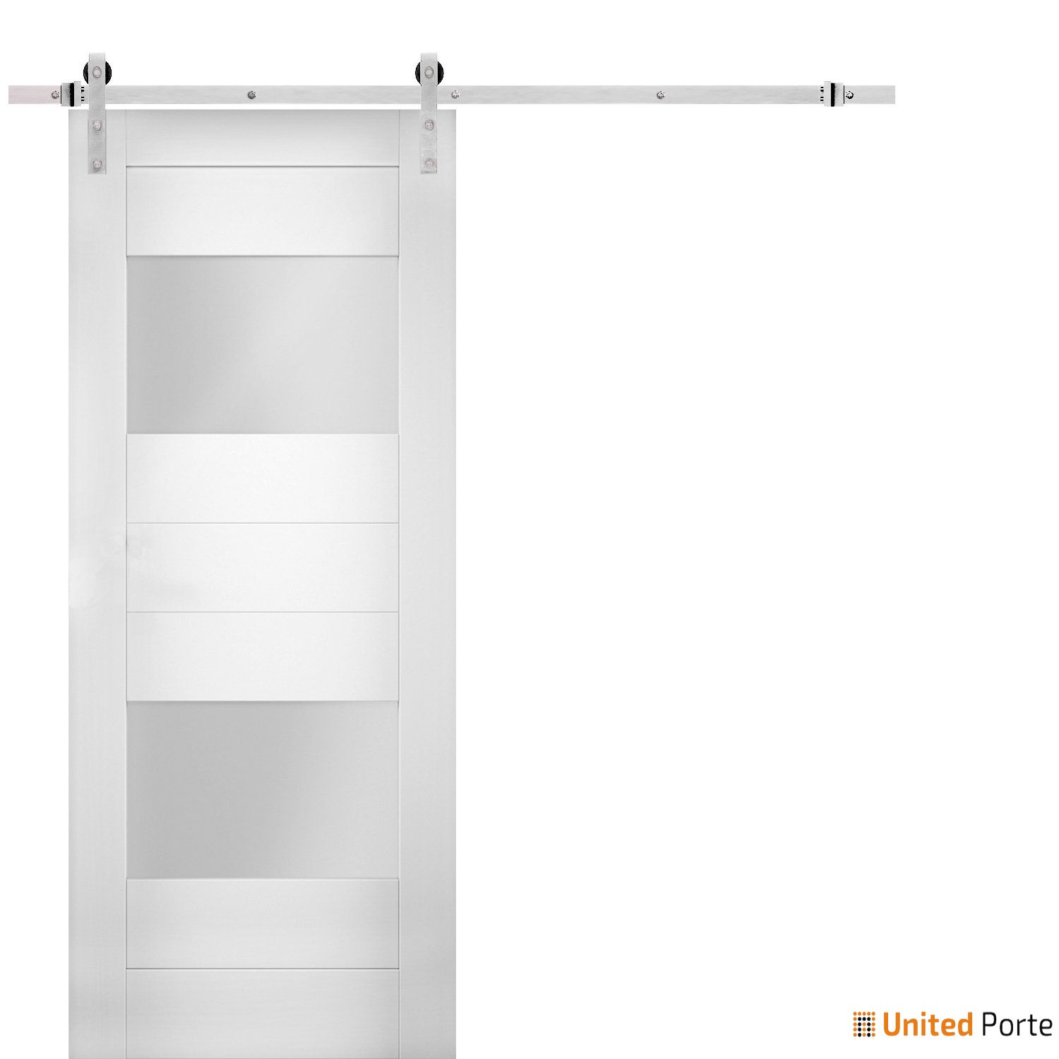 Sete 6222 White Silk Modern Barn Door Opaque Glass 2 Lites with Stainless Hardware | Solid Panel Interior Barn Doors