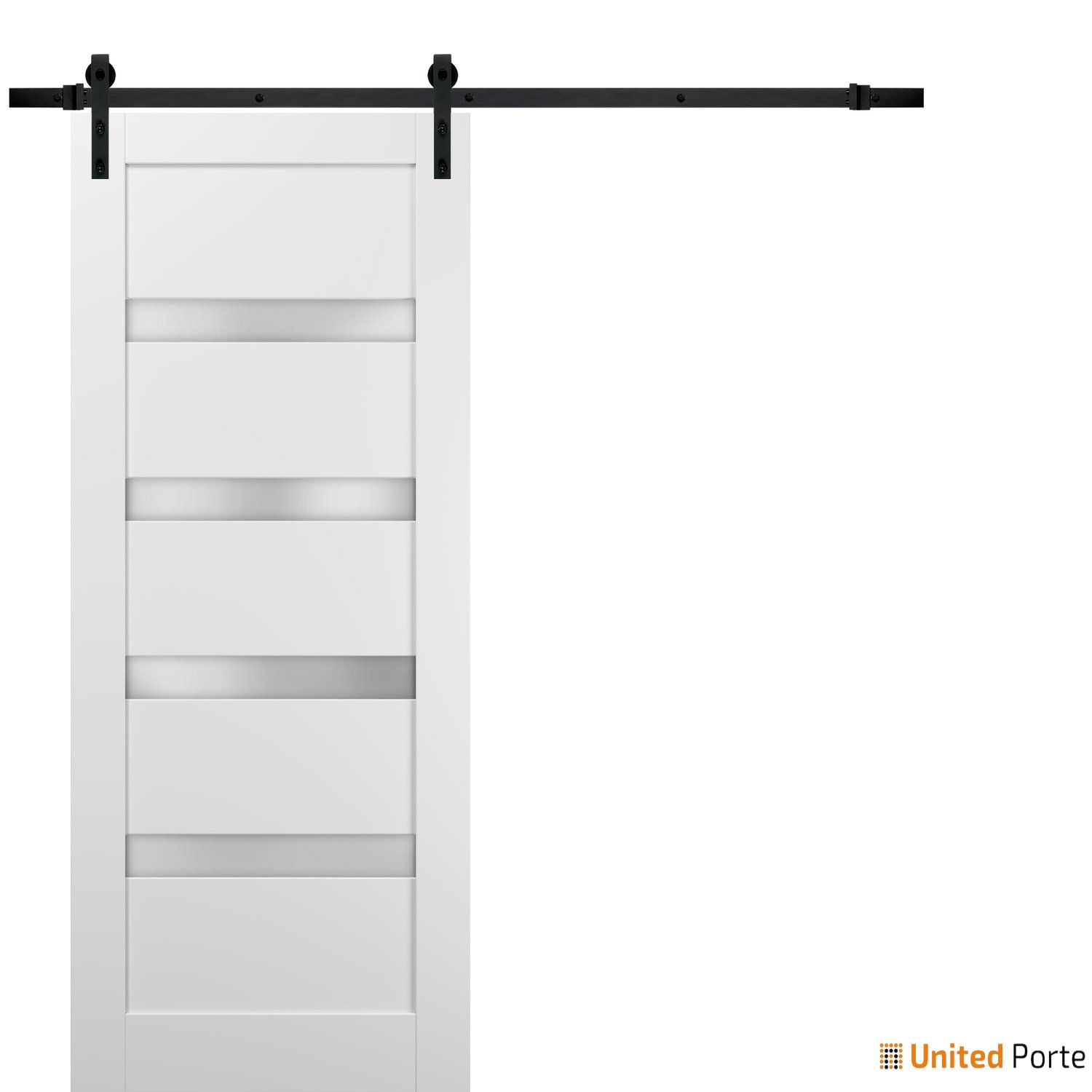 Quadro 4113 White Silk with Frosted Opaque Glass Sliding Barn Door with Black Hardware   Lite Wooden Solid Panel Interior Barn Doors