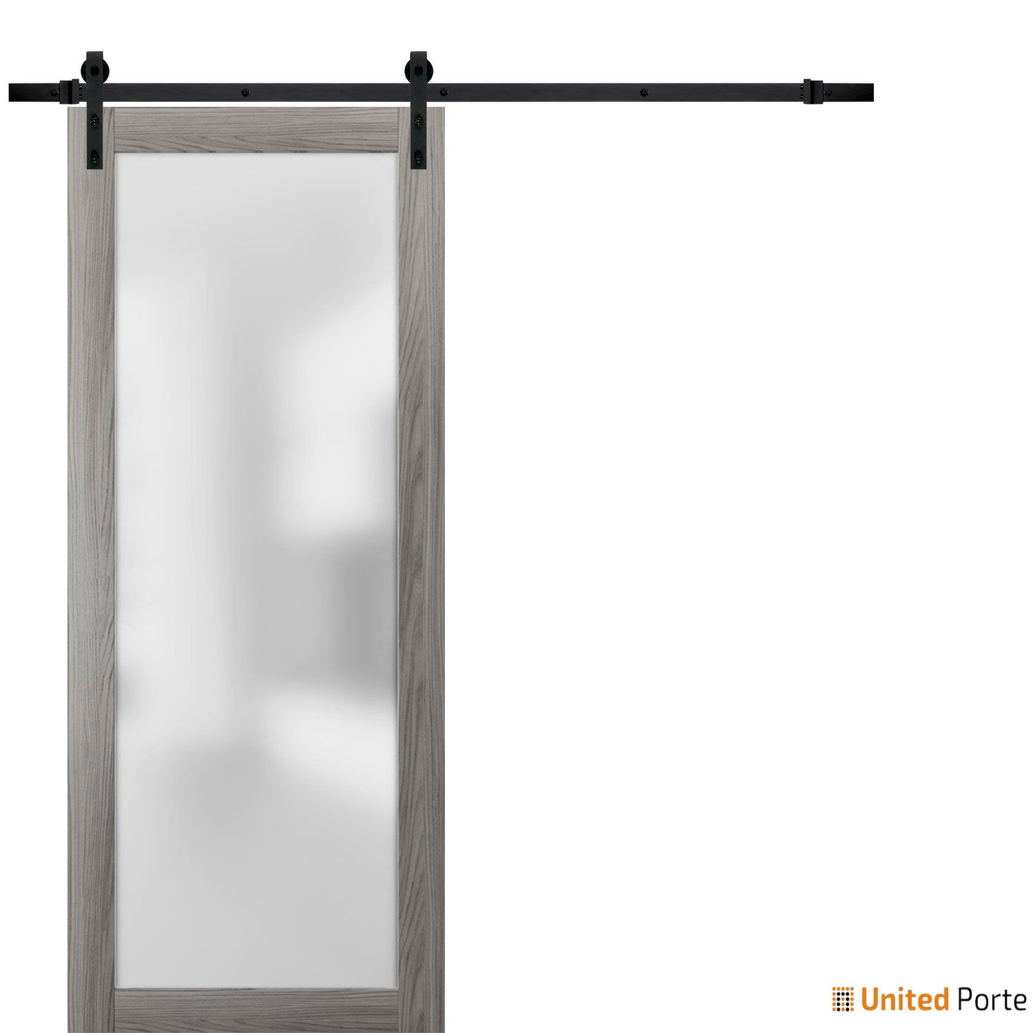 Planum 2102 Ginger Ash Sturdy Barn Door Frosted Tempered Glass with Black Hardware | Modern Solid Panel Interior Barn Doors