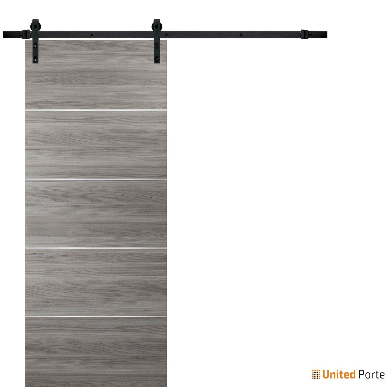 Planum 0020 Ginger Ash Sliding Barn Door with Black Hardware | Modern Solid Panel Interior Barn Doors