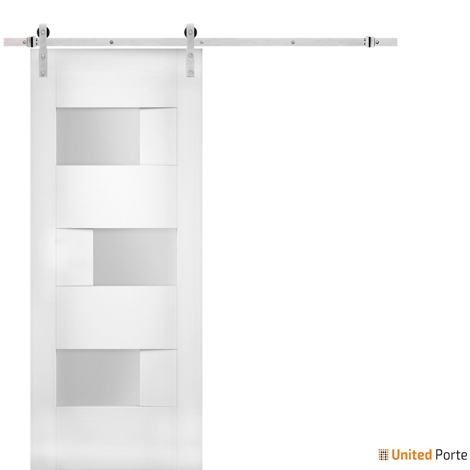 Sete 6933 White Silk Modern Barn Door Opaque Glass with Stainless Hardware   Solid Panel Interior Barn Doors