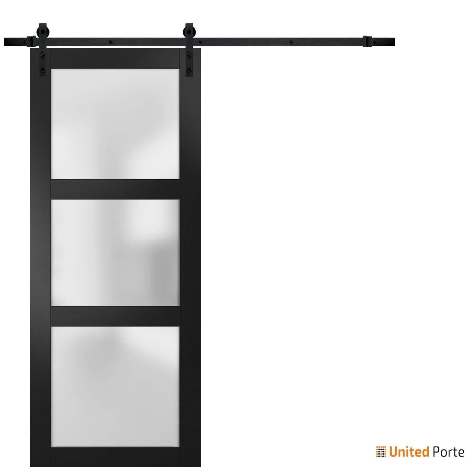 Lucia 2552 Matte Black Sturdy Barn Door Frosted Glass with Black Hardware   Solid Panel Interior Barn Doors