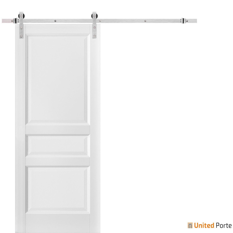 Lucia 31 White Silk Sliding Barn Door with Stainless Hardware | 3 Paneled Shaker Wooden Solid Panel Interior Barn Doors