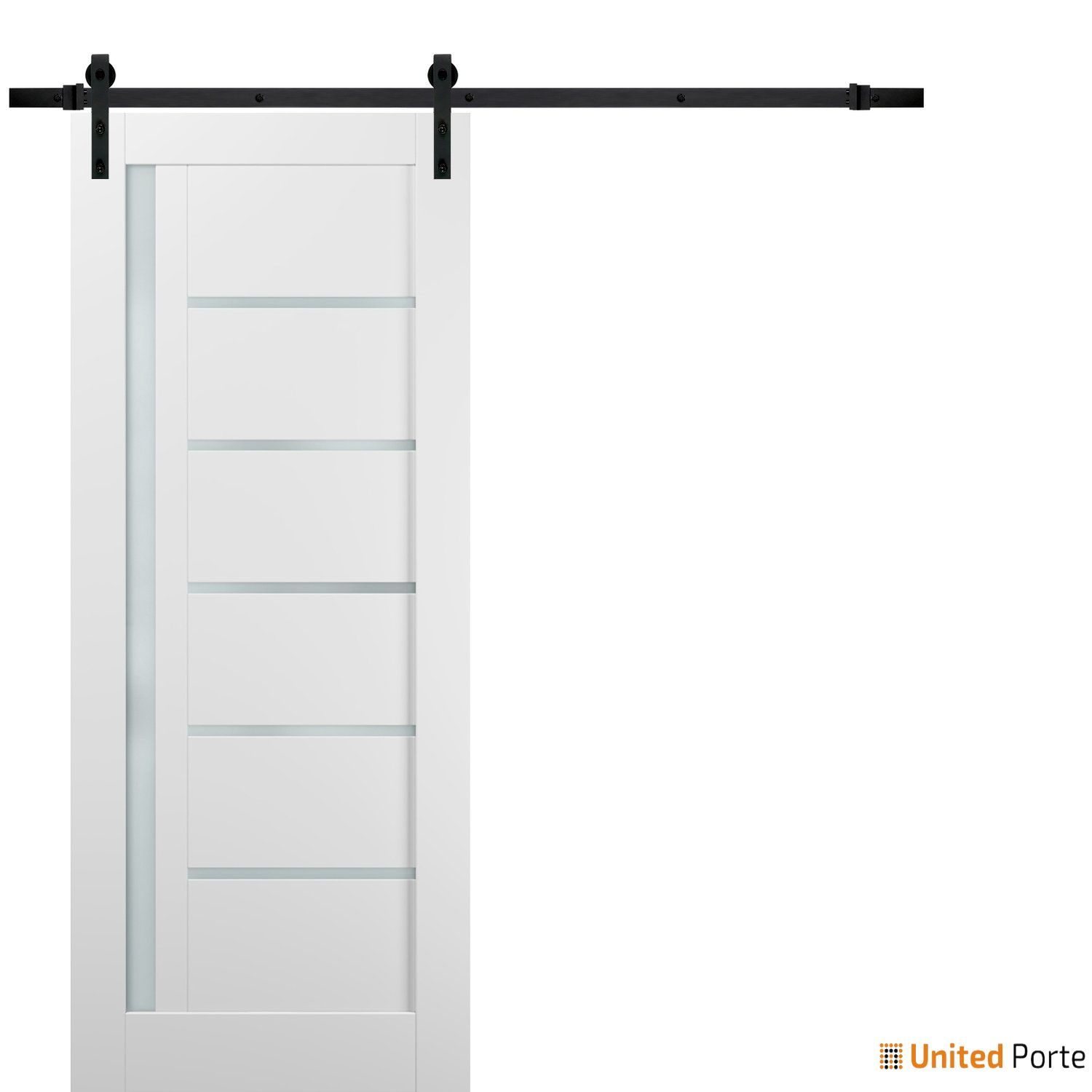 Quadro 4088 White Silk with Frosted Opaque Glass Sliding Barn Door with Black Hardware   Lite Wooden Solid Panel Interior Barn Doors