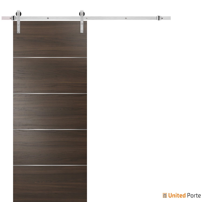 Planum 0020 Chocolate Ash Sliding Barn Door with Stainless Hardware   Modern Solid Panel Interior Barn Doors