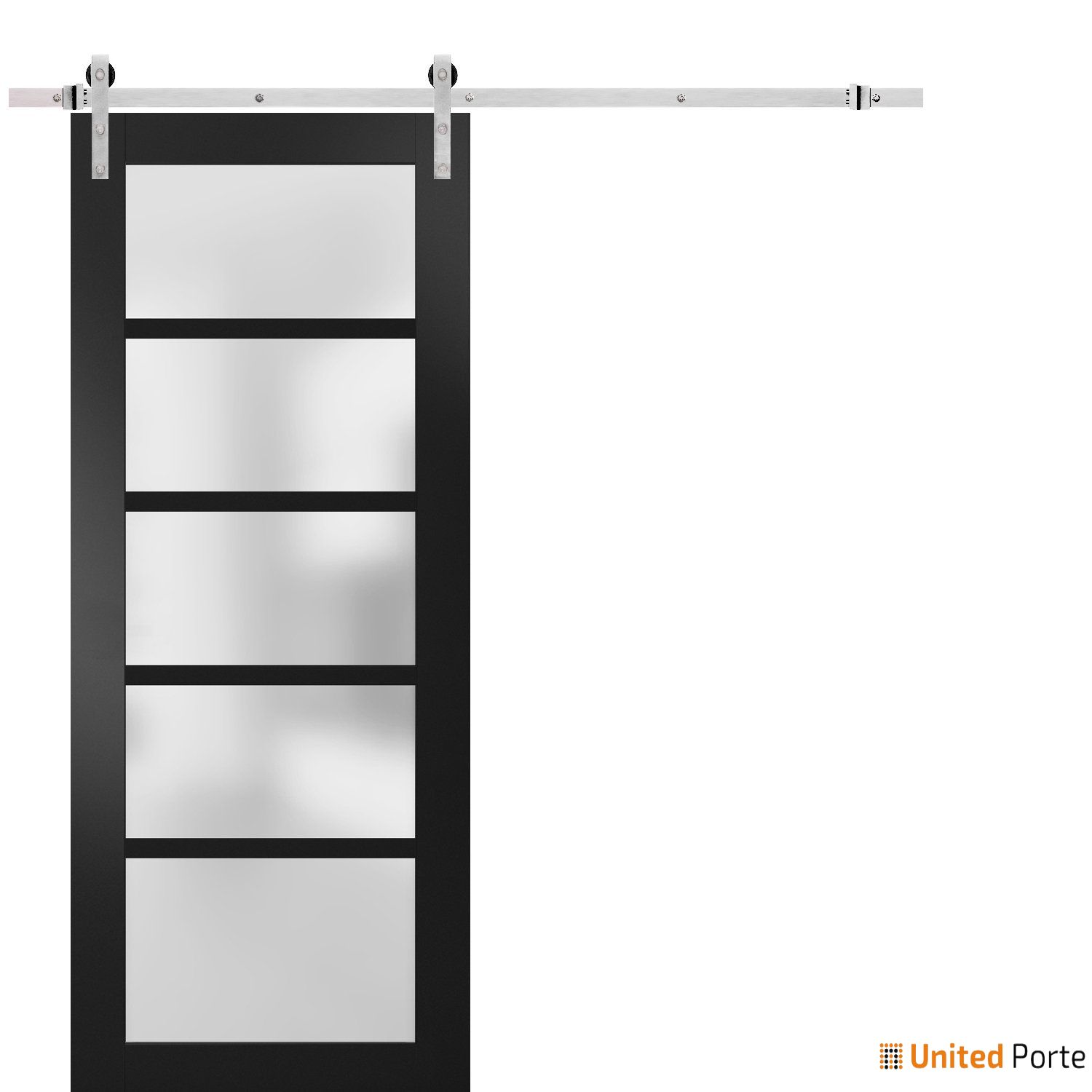 Quadro 4002 Matte Black with Frosted Opaque Glass Sliding Barn Door with Stainless Hardware | Lite Wooden Solid Panel Interior Barn Doors