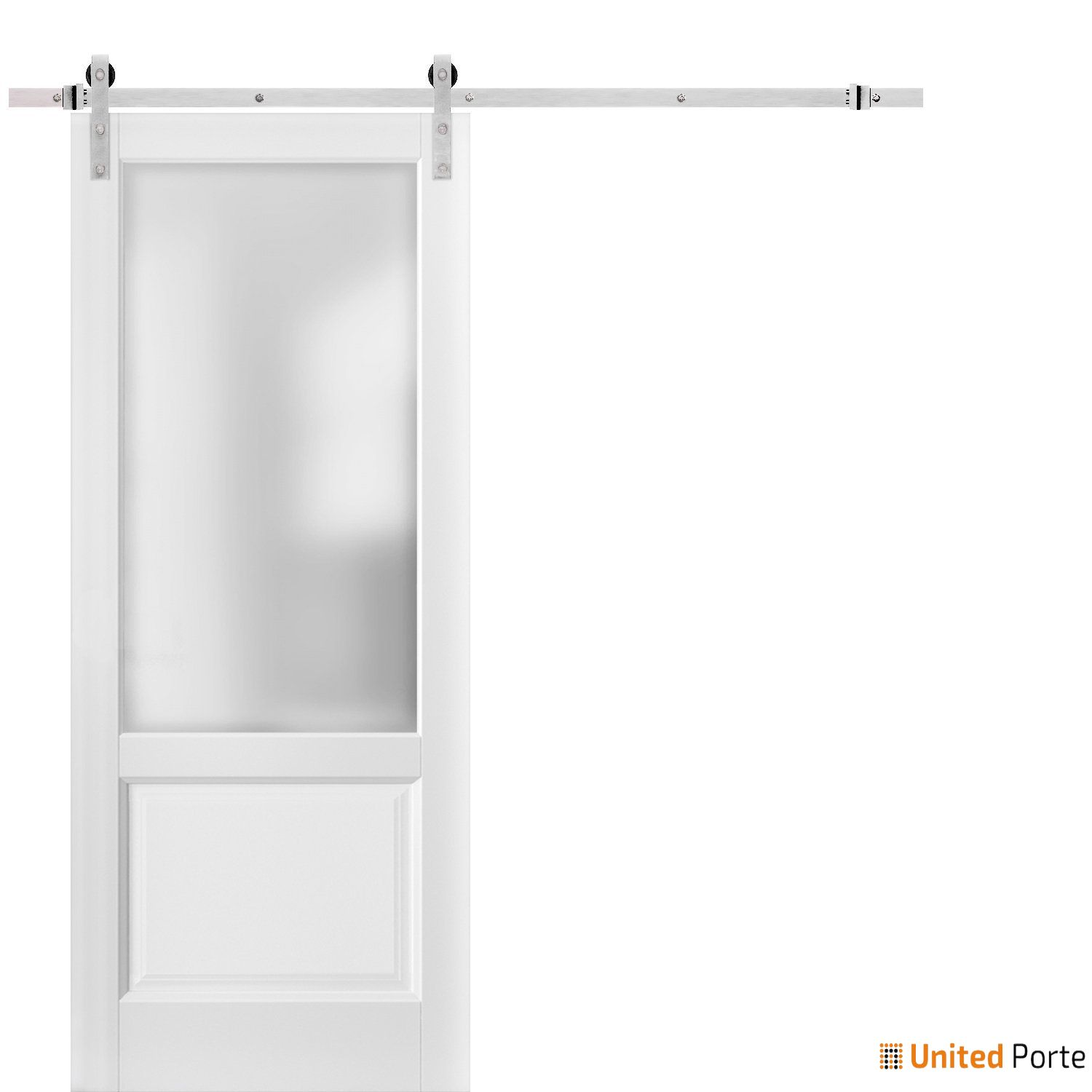 Lucia 22 White Silk with Frosted Opaque Glass Sliding Barn Door with Stainless Hardware   Lite Wooden Solid Panel Interior Barn Doors