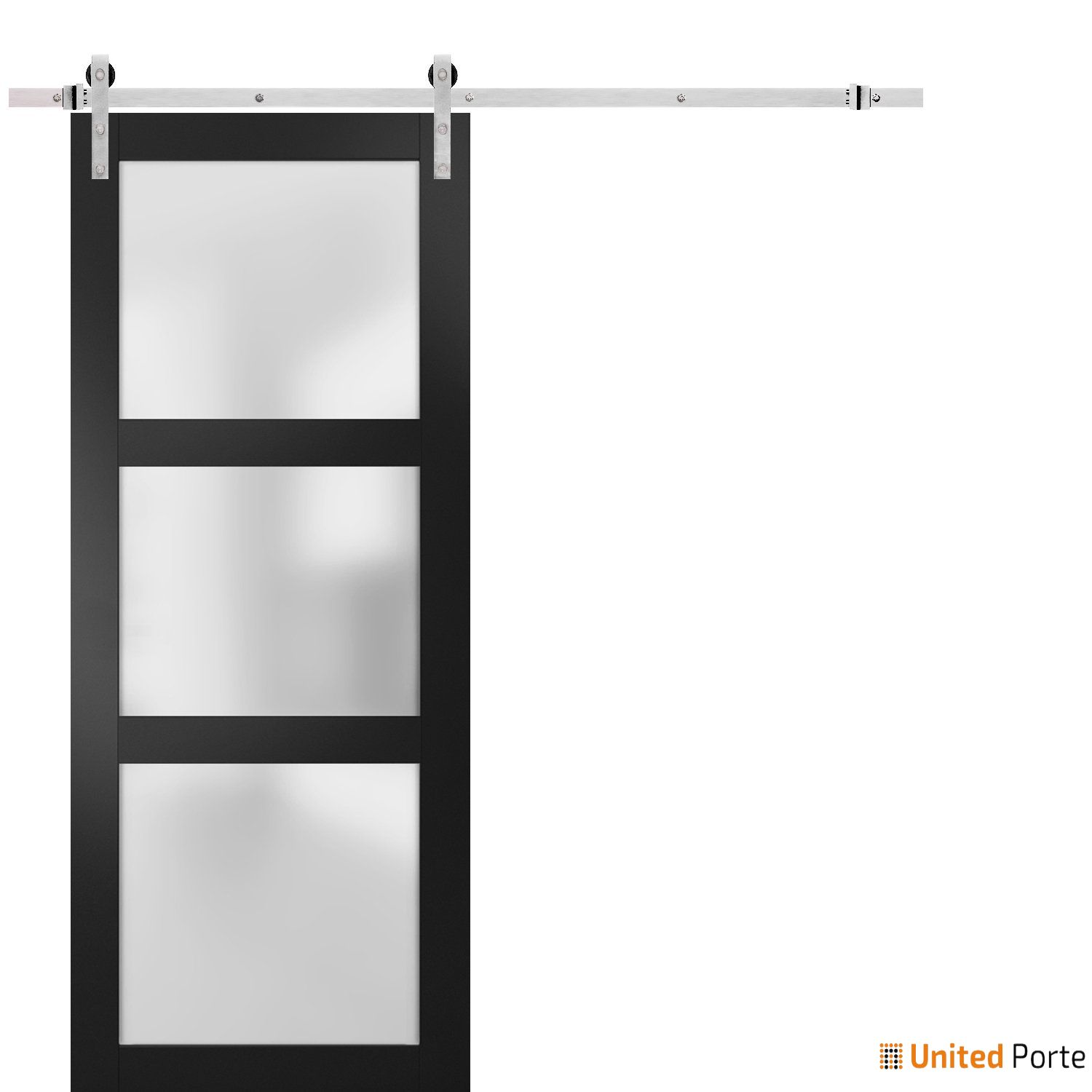 Lucia 2552 Matte Black Sturdy Barn Door Frosted Glass with Stainless Hardware   Solid Panel Interior Barn Doors