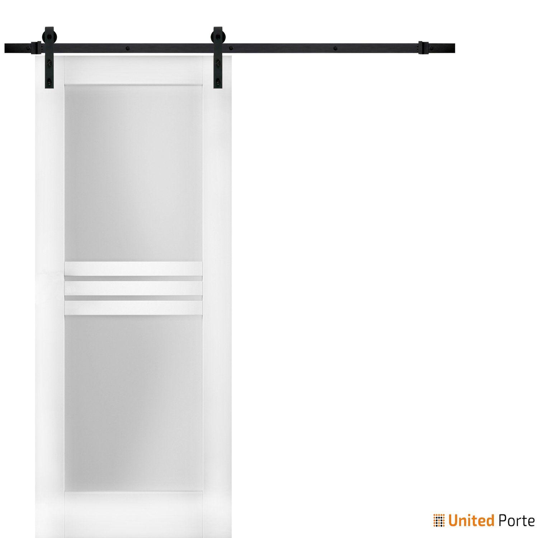 Mela 7222 White Silk Modern Barn Door Opaque Glass 4 Lites with Black Hardware |  Solid Panel Interior Barn Doors