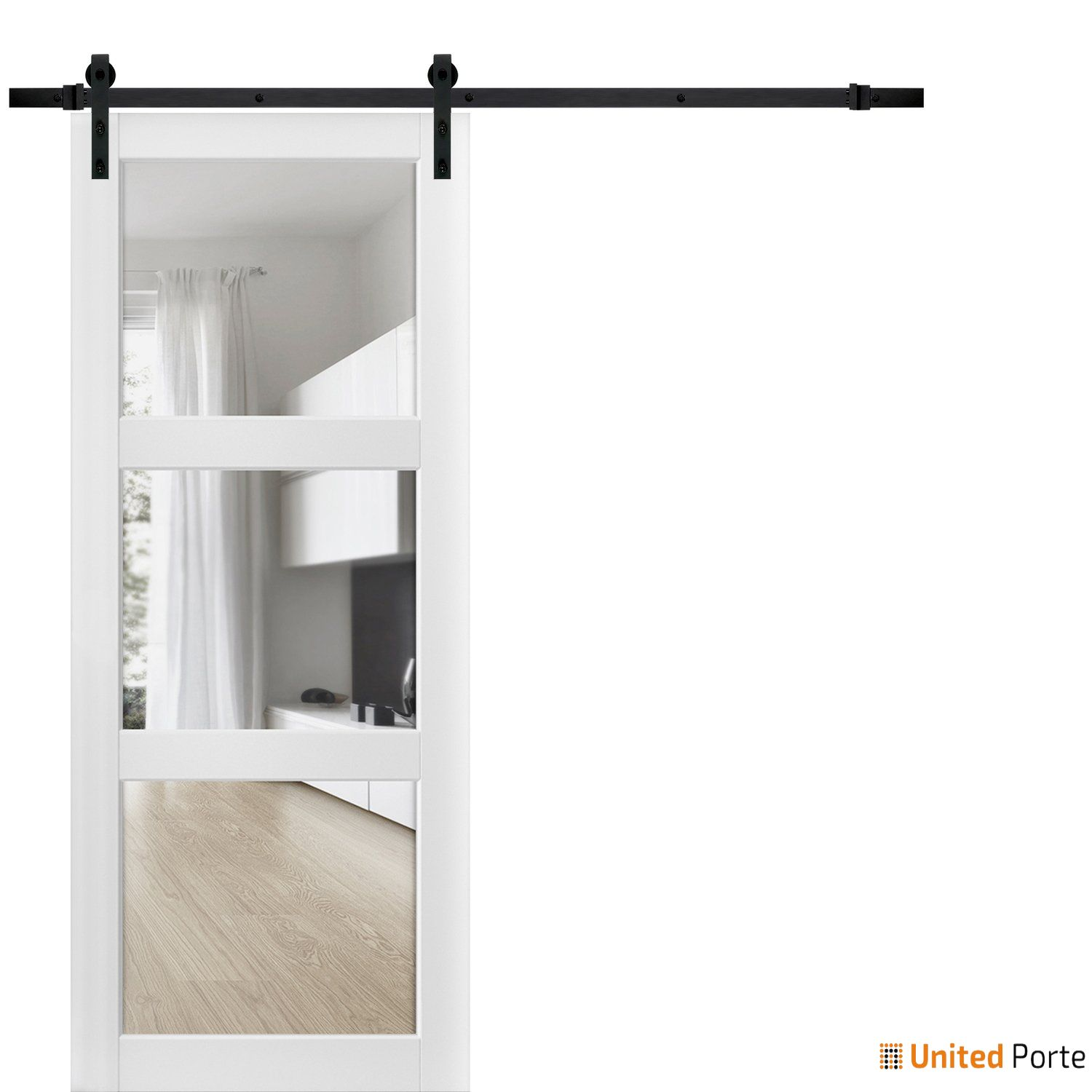 Lucia 2555 Matte White Sturdy Barn Door Clear Glass 3 Lites with Black Hardware   Solid Panel Interior Barn Doors