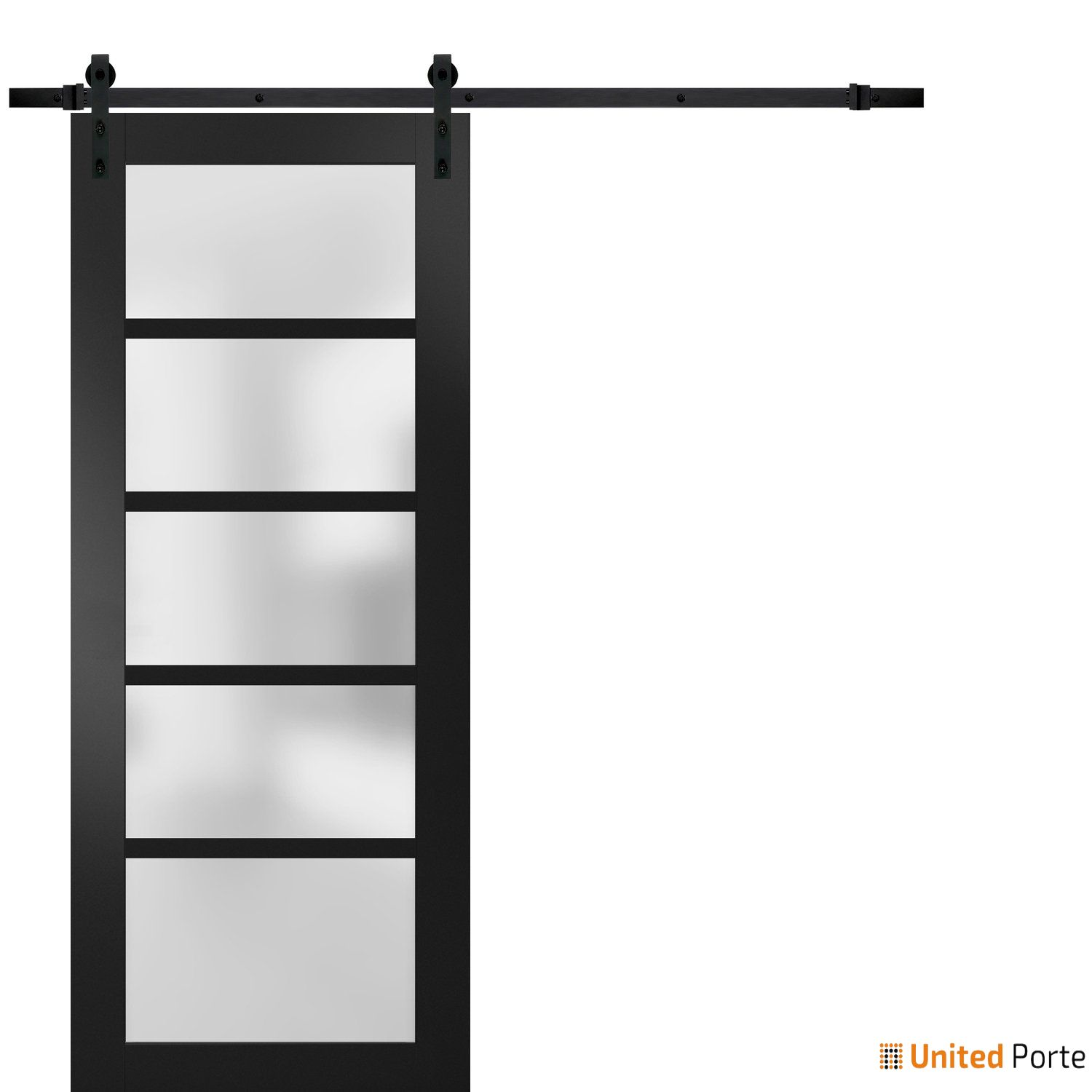 Quadro 4002 Matte Black with Frosted Opaque Glass Sliding Barn Door with Black Hardware | Lite Wooden Solid Panel Interior Barn Doors