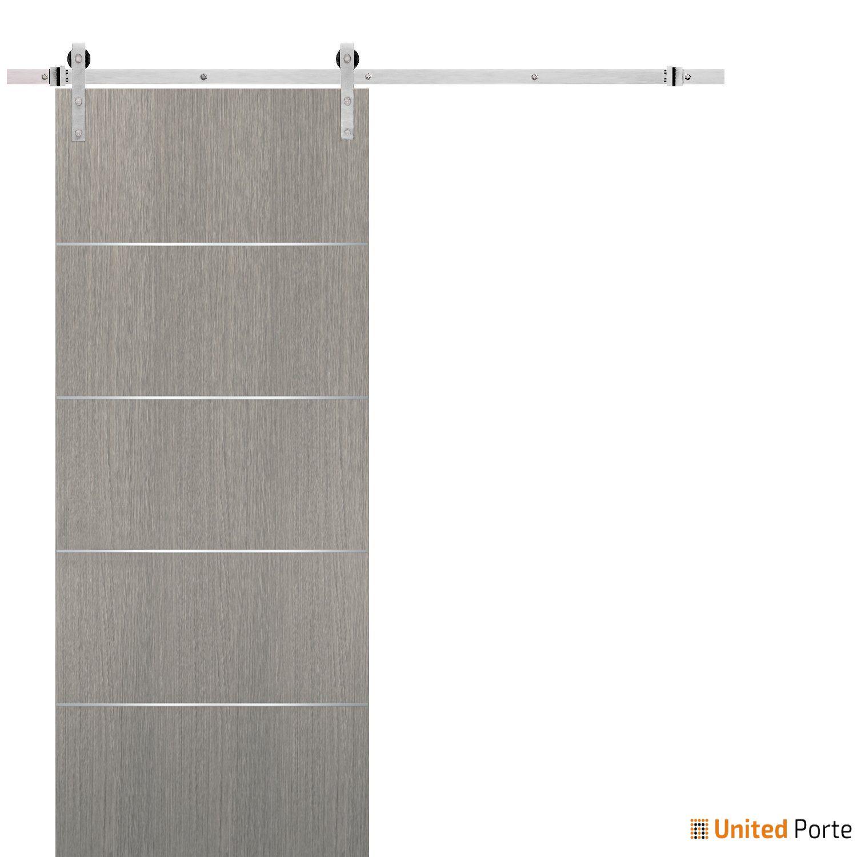 Planum 0020 Grey Oak Sliding Barn Door with Stainless Hardware   Modern Solid Panel Interior Barn Doors