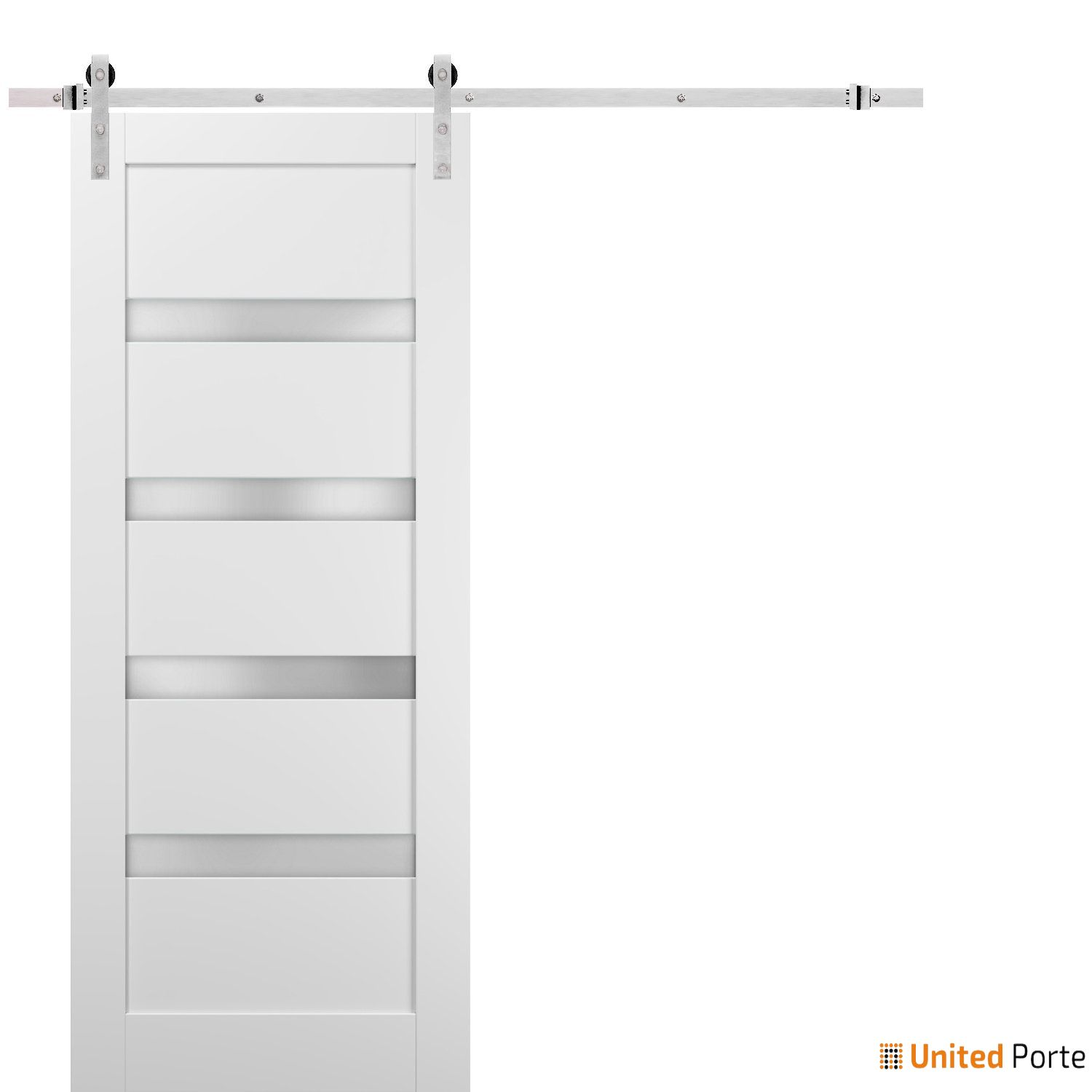 Quadro 4113 White Silk with Frosted Opaque Glass Sliding Barn Door with Stainless Hardware | Lite Wooden Solid Panel Interior Barn Doors