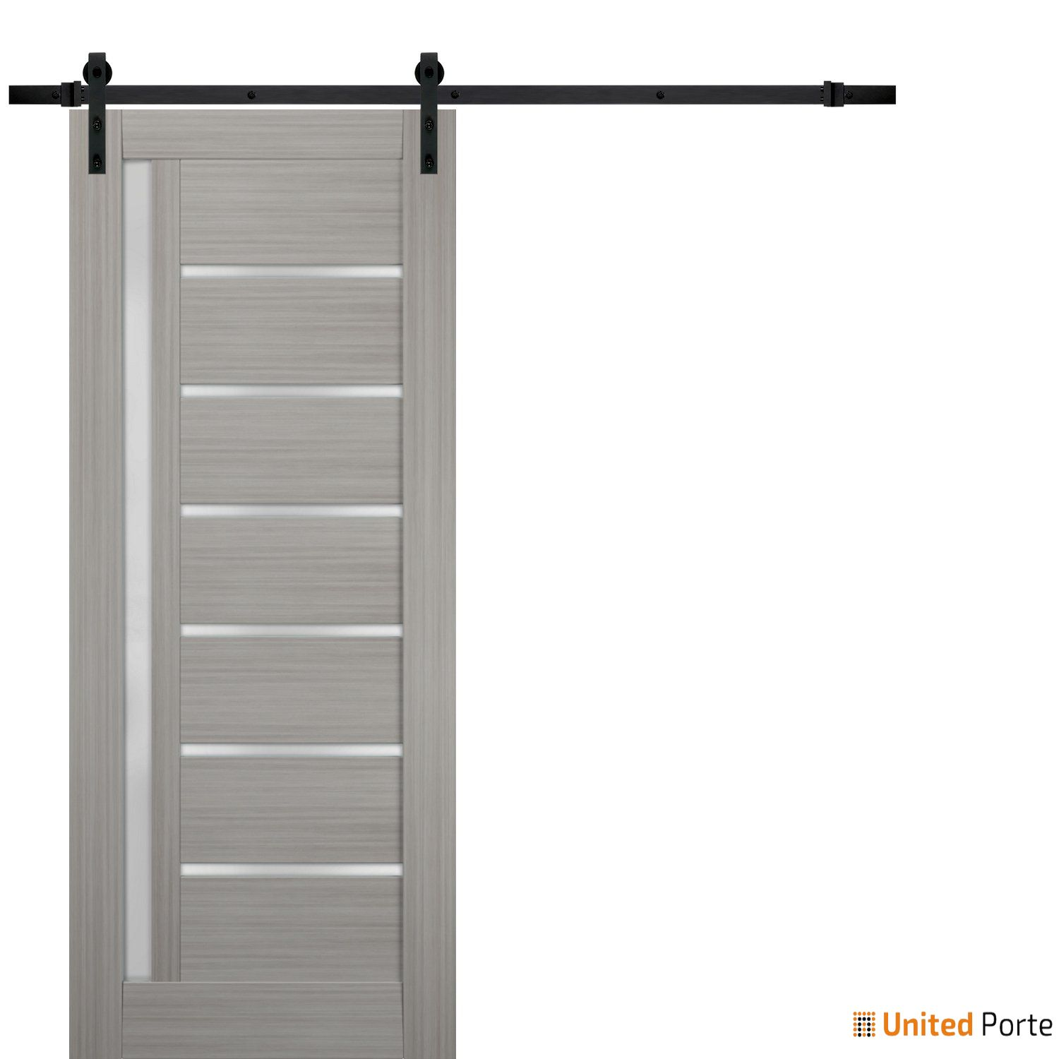 Quadro 4088 Grey Ash with Frosted Opaque Glass Sliding Barn Door with Black Hardware   Lite Wooden Solid Panel Interior Barn Doors
