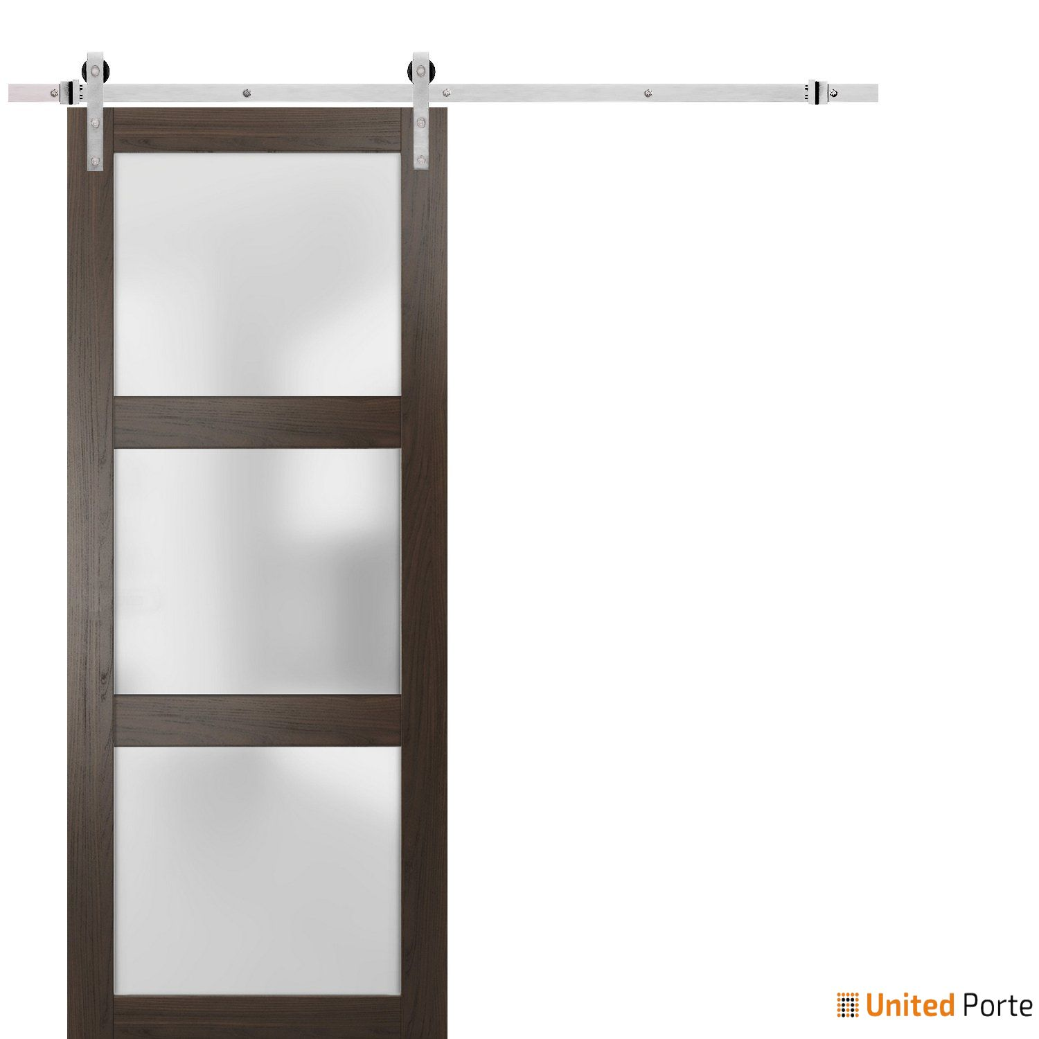 Lucia 2552 Chocolate Ash Sturdy Barn Door Frosted Glass with Stainless Hardware | Solid Panel Interior Barn Doors