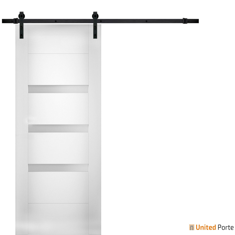 Sete 6900 White Silk Modern Barn Door Opaque Glass with Black Hardware | Solid Panel Interior Barn Doors