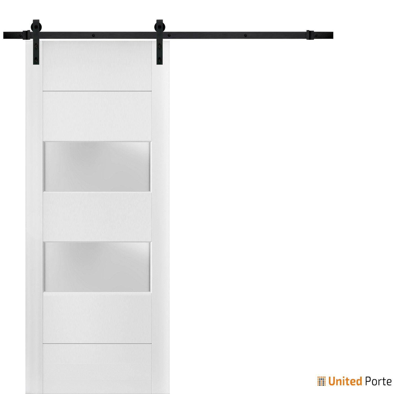 Lucia 4010 White Silk Sturdy Barn Door Frosted Glass 2 lites with Black Hardware | Solid Panel Interior Barn Doors