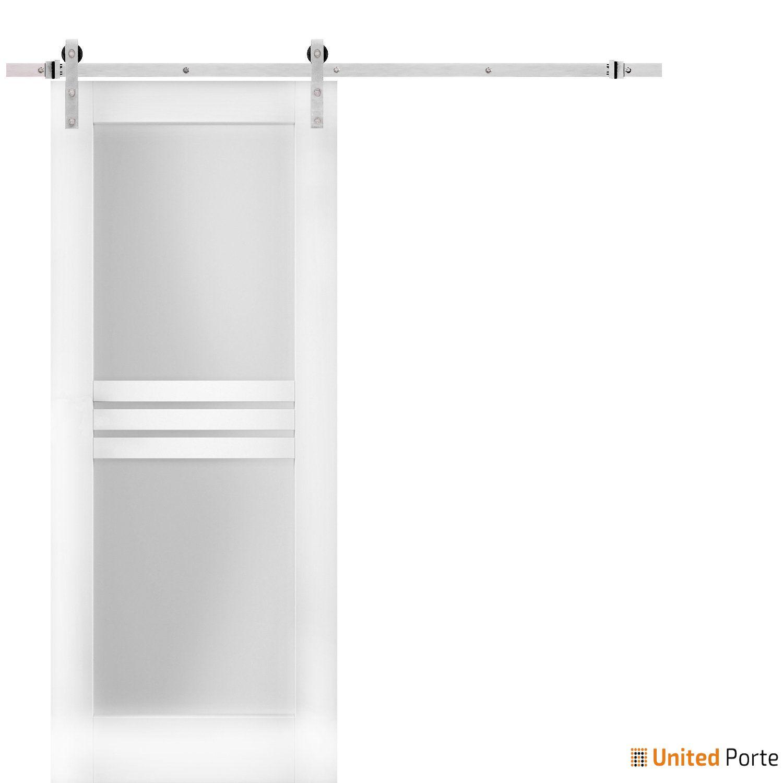 Mela 7222 White Silk Modern Barn Door Opaque Glass 4 Lites with Stainless Hardware    Solid Panel Interior Barn Doors