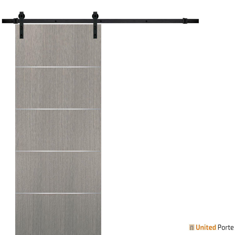 Planum 0020 Grey Oak Sliding Barn Door with Black Hardware | Modern Solid Panel Interior Barn Doors