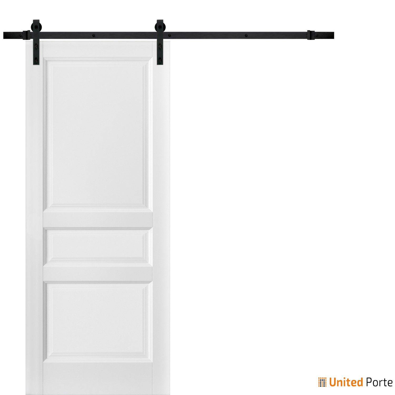 Lucia 31 White Silk Sliding Barn Door with Black Hardware | 3 Paneled Shaker Wooden Solid Panel Interior Barn Doors