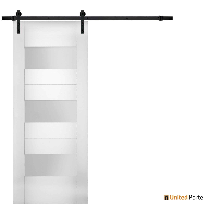 Sete 6003 White Silk Modern Barn Door Opaque Glass with Black Hardware | Solid Panel Interior Barn Doors