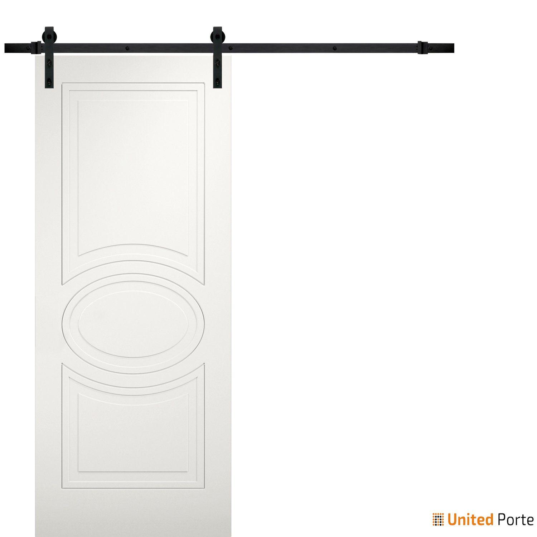 Mela 7001 Matte White Modern Barn Door with Black Hardware   Solid Panel Interior Barn Doors