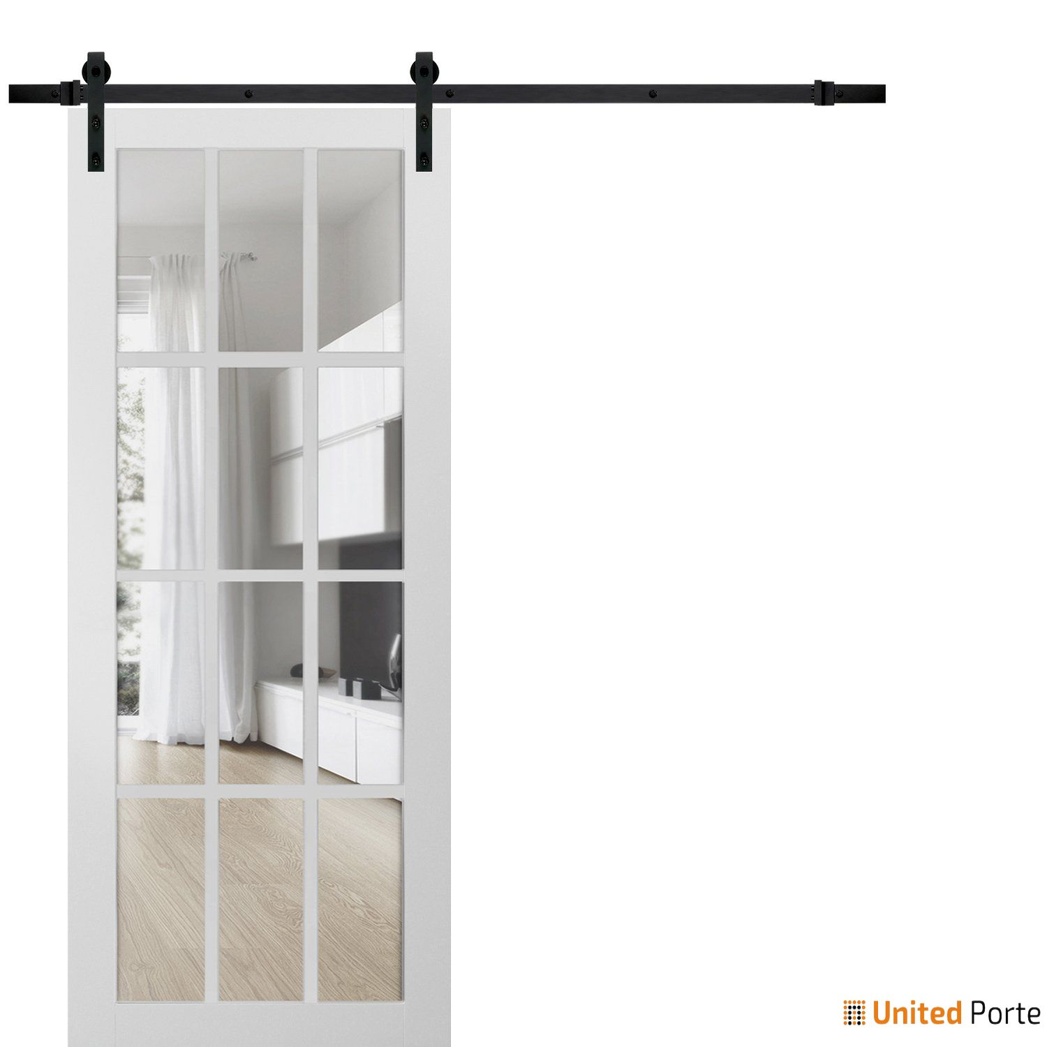 Felicia 3355 Matte White Sturdy Barn Door Clear Glass 12 lites with Black Hardware | Solid Panel Interior Barn Doors