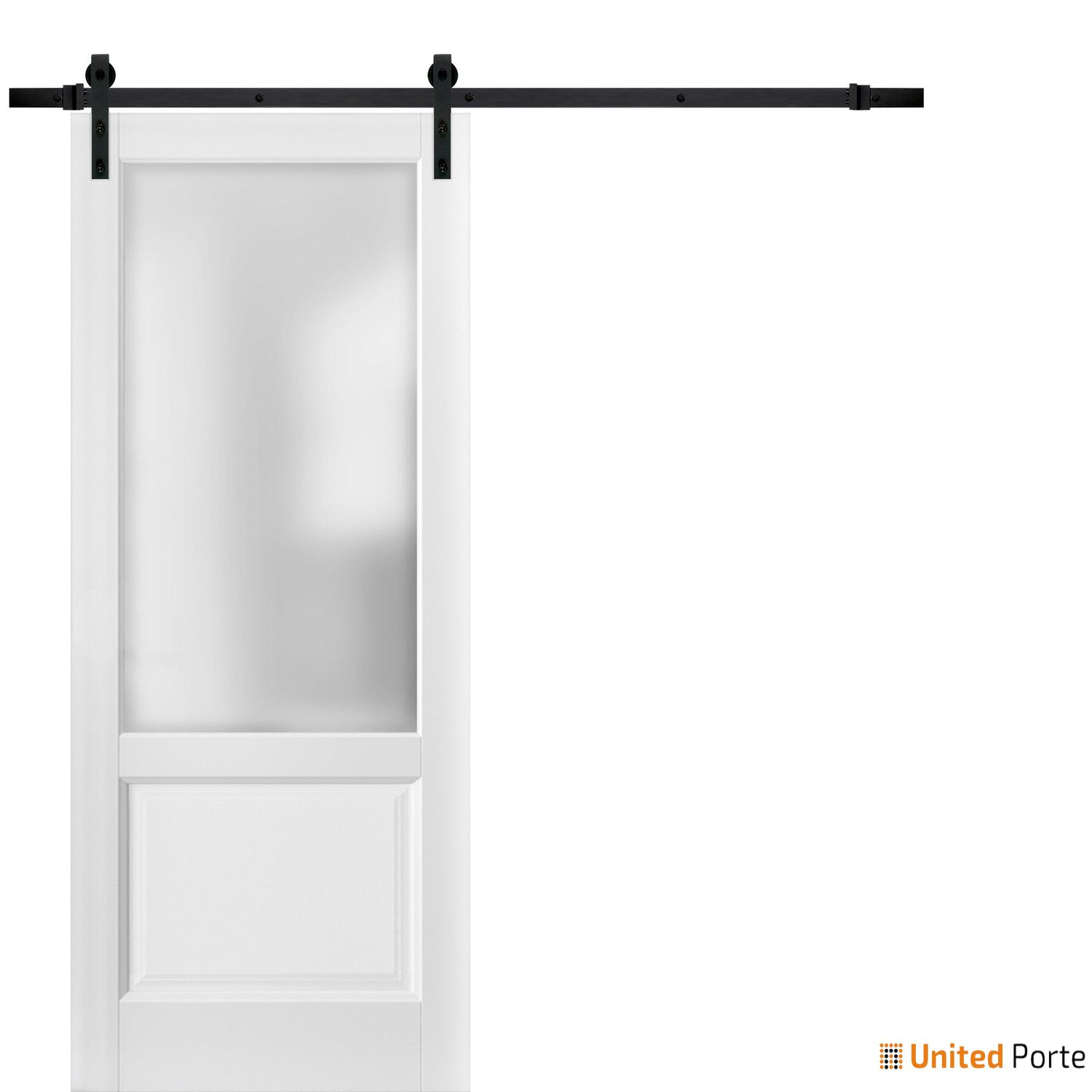 Lucia 22 White Silk with Frosted Opaque Glass Sliding Barn Door with Black Hardware | Lite Wooden Solid Panel Interior Barn Doors