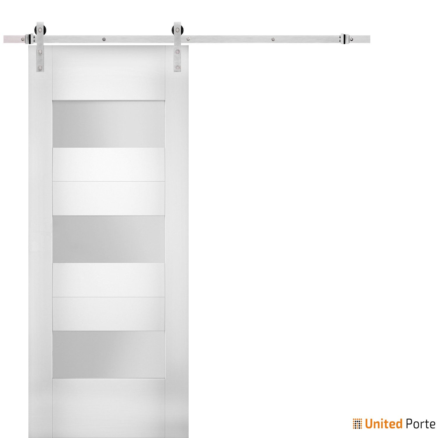 Sete 6003 White Silk Modern Barn Door Opaque Glass with Stainless Hardware | Solid Panel Interior Barn Doors