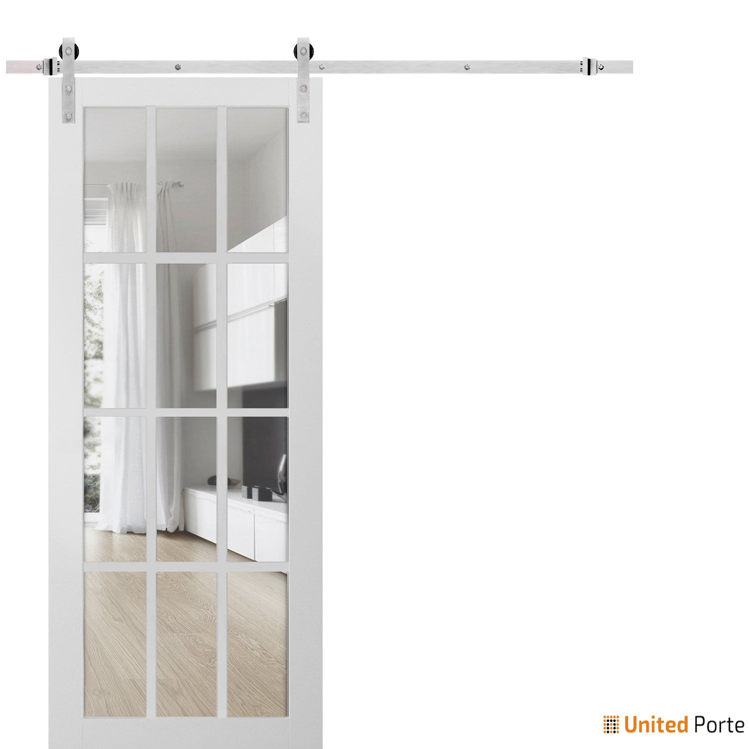 Felicia 3355 Matte White Sturdy Barn Door Clear Glass 12 lites with Stainless Hardware | Solid Panel Interior Barn Doors
