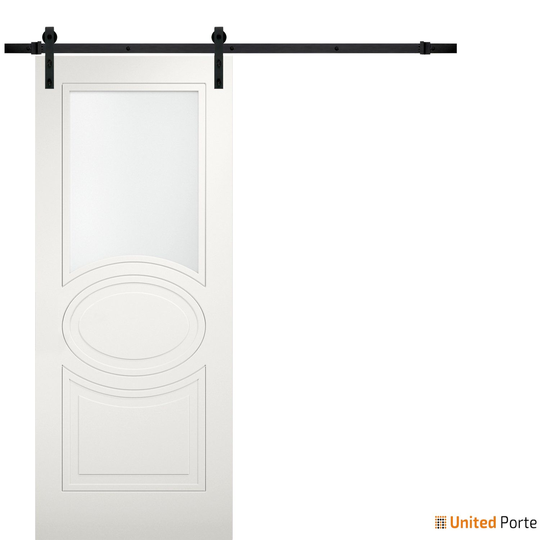 Mela 7012 Matte White Modern Barn Door Opaque Glass with Black Hardware   Solid Panel Interior Barn Doors