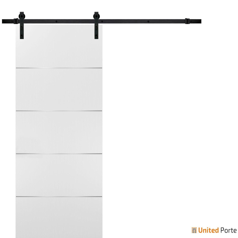 Planum 0020 White Sliding Barn Door with Black Hardware   Modern Solid Panel Interior Barn Doors