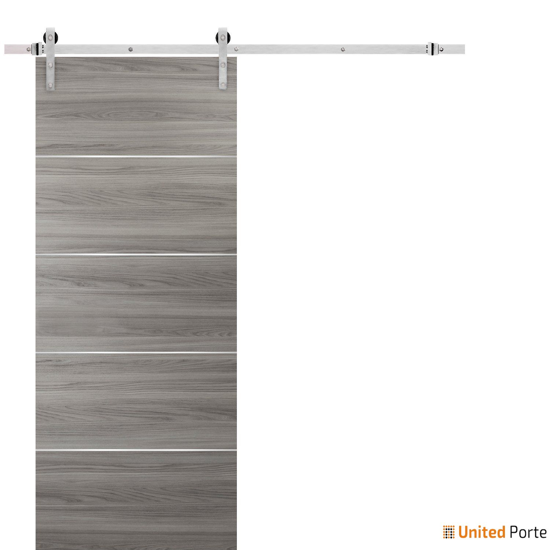 Planum 0020 Ginger Ash Sliding Barn Door with Stainless Hardware | Modern Solid Panel Interior Barn Doors