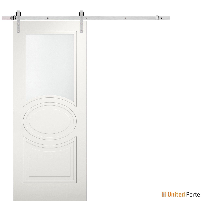 Mela 7012 Matte White Modern Barn Door Opaque Glass with Stainless Hardware   Solid Panel Interior Barn Doors