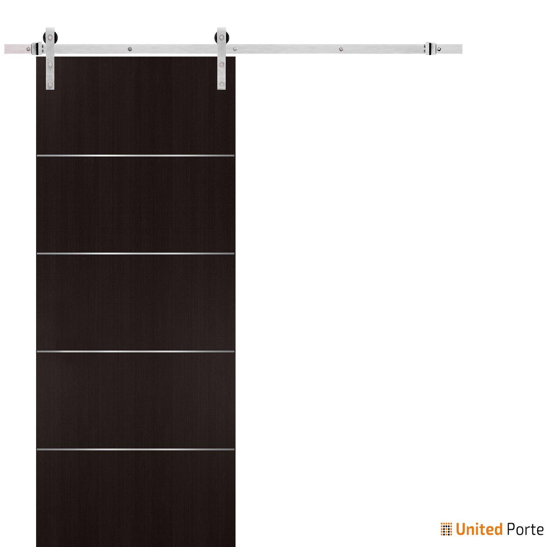 Planum 0020 Wenge Sliding Barn Door with Stainless Hardware   Modern Solid Panel Interior Barn Doors