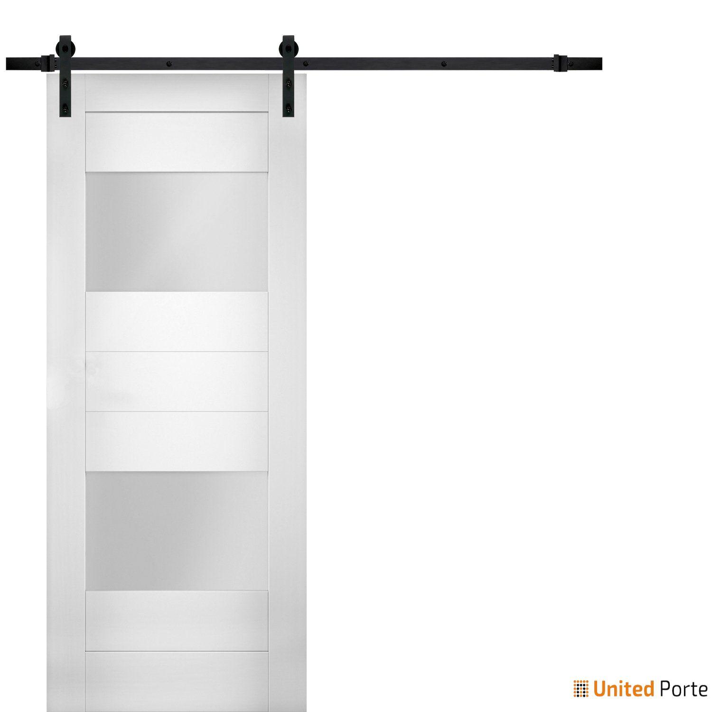 Sete 6222 White Silk Modern Barn Door Opaque Glass 2 Lites with Black Hardware   Solid Panel Interior Barn Doors