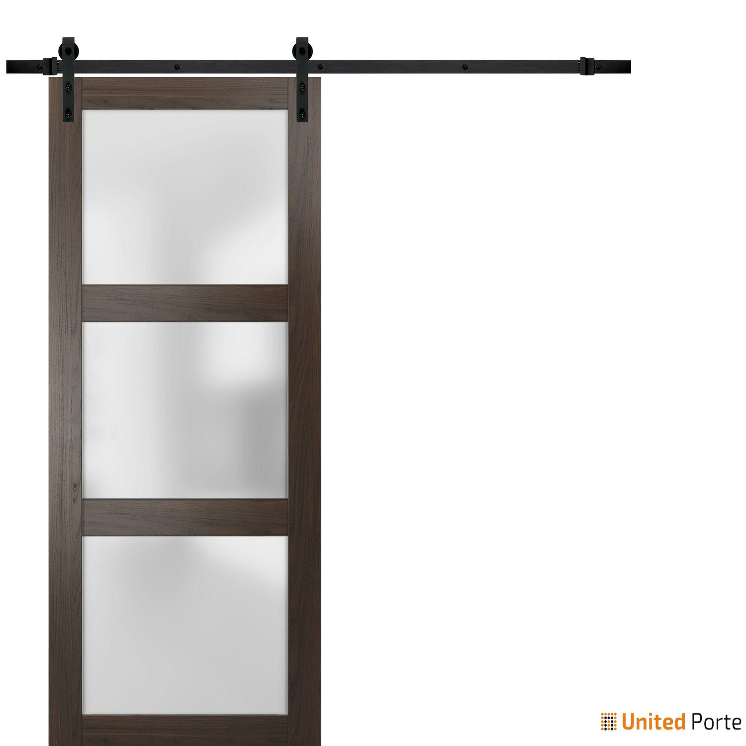 Lucia 2552 Chocolate Ash Sturdy Barn Door Frosted Glass with Black Hardware | Solid Panel Interior Barn Doors