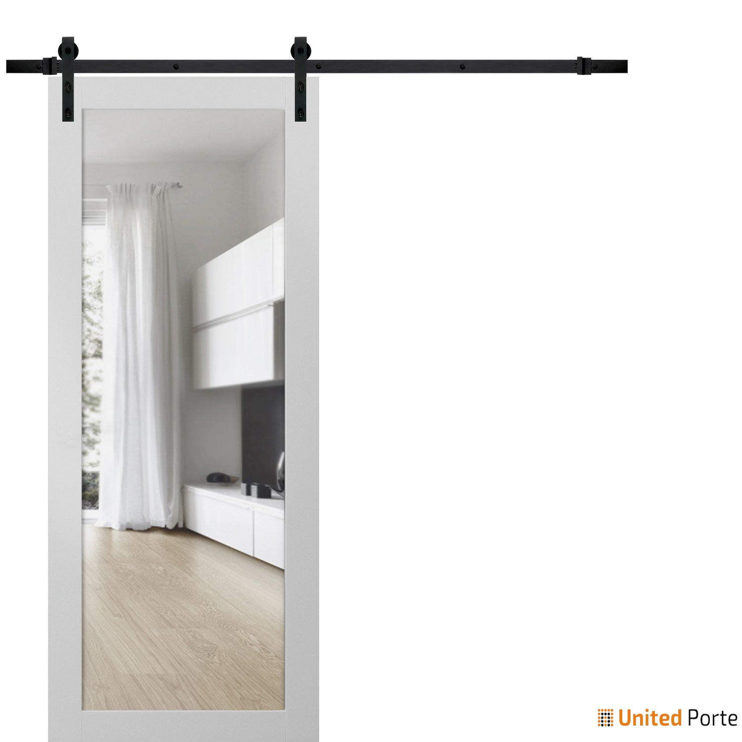 Lucia 2166 White Silk Sturdy Barn Door Clear Glass with Black Hardware | Solid Panel Interior Barn Doors