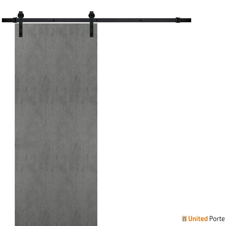 Planum 0010 Concrete Sturdy Barn Door with Black Hardware | Modern Solid Panel Interior Barn Doors