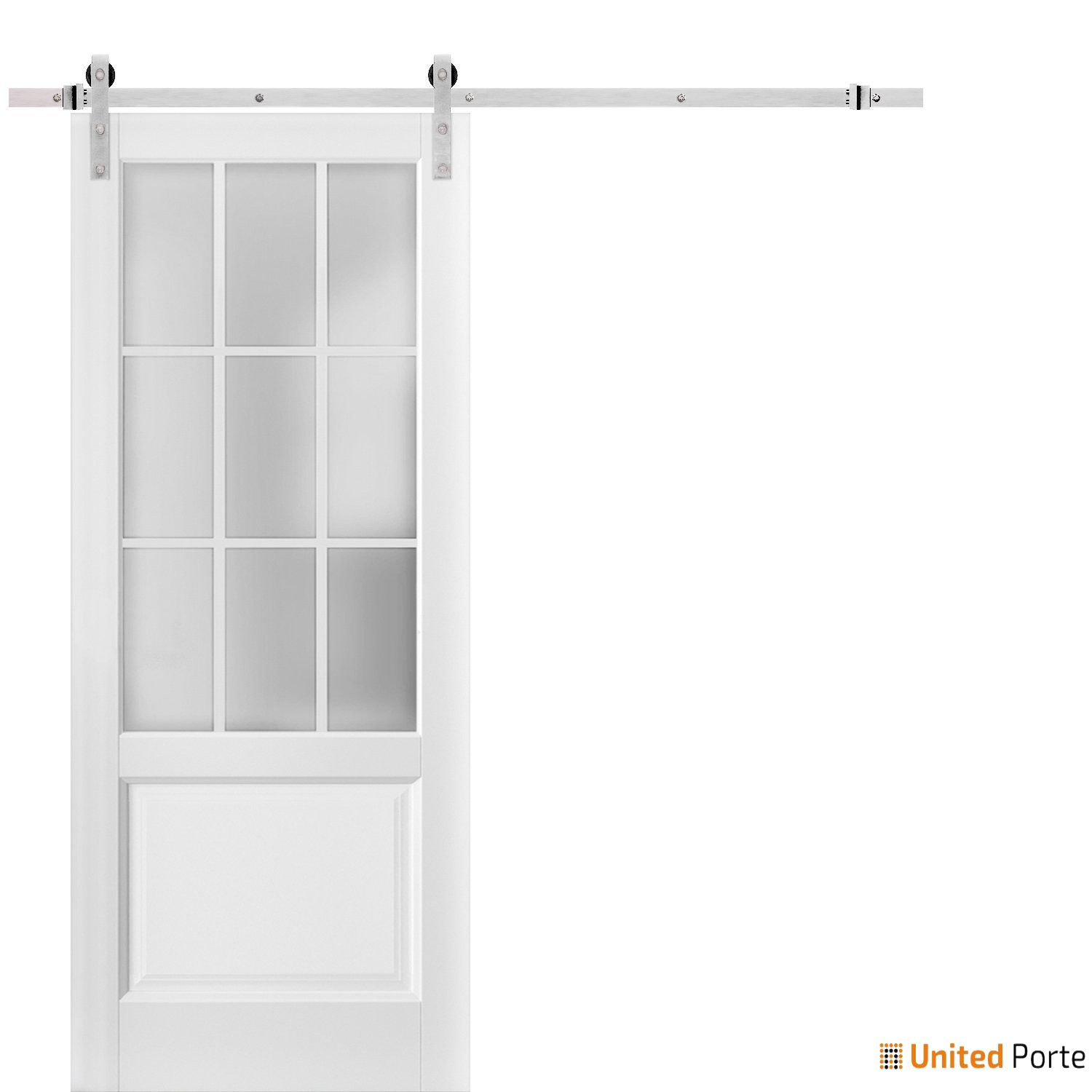 Felicia 3309 Matte White Sturdy Barn Door Frosted Glass 9 Lites with Stainless Hardware | Solid Panel Interior Barn Doors